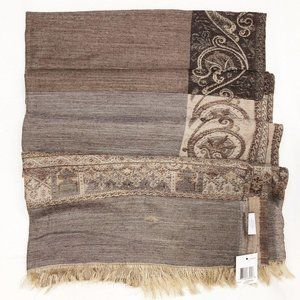 Charter Club Brown Wool Silk Damask Shawl Scarf